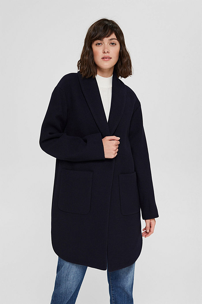 Recycled: coat made of blended wool, NAVY, detail image number 0