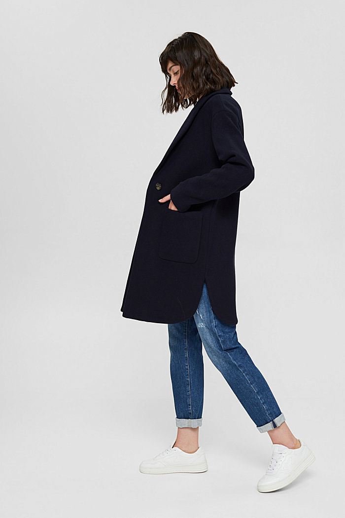 Recycled: coat made of blended wool, NAVY, detail image number 5