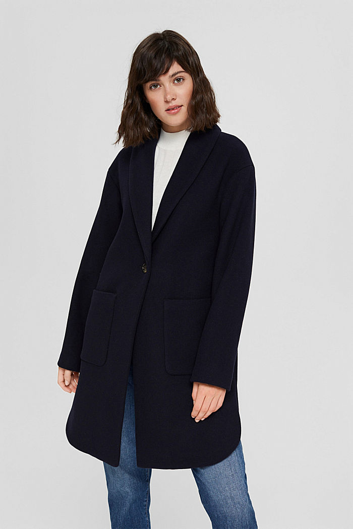 Recycled: coat made of blended wool, NAVY, detail image number 6
