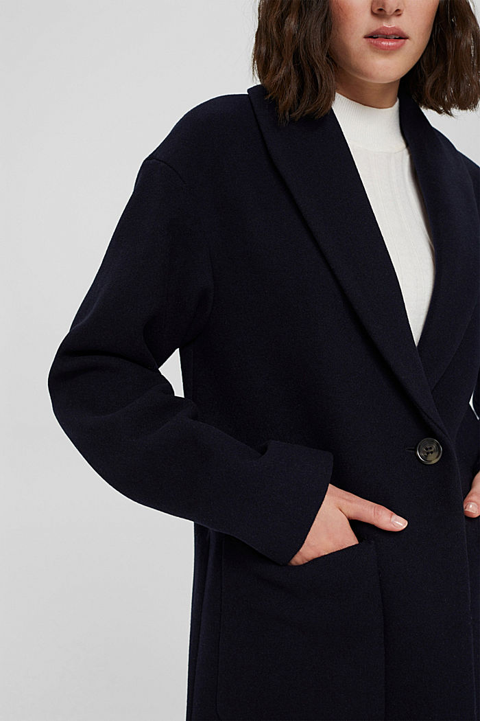 Recycled: coat made of blended wool, NAVY, detail image number 2