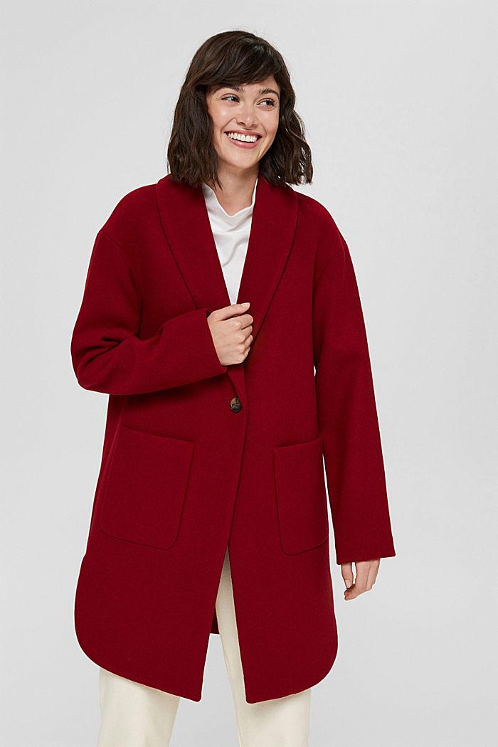 Gerecycled: mantel van een wolmix, DARK RED, detail image number 0