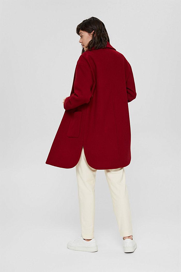 Gerecycled: mantel van een wolmix, DARK RED, detail image number 3