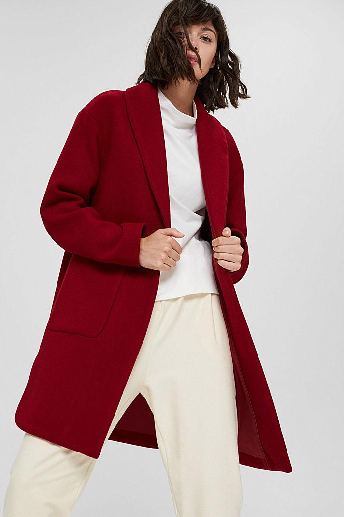 Gerecycled: mantel van een wolmix, DARK RED, detail image number 6