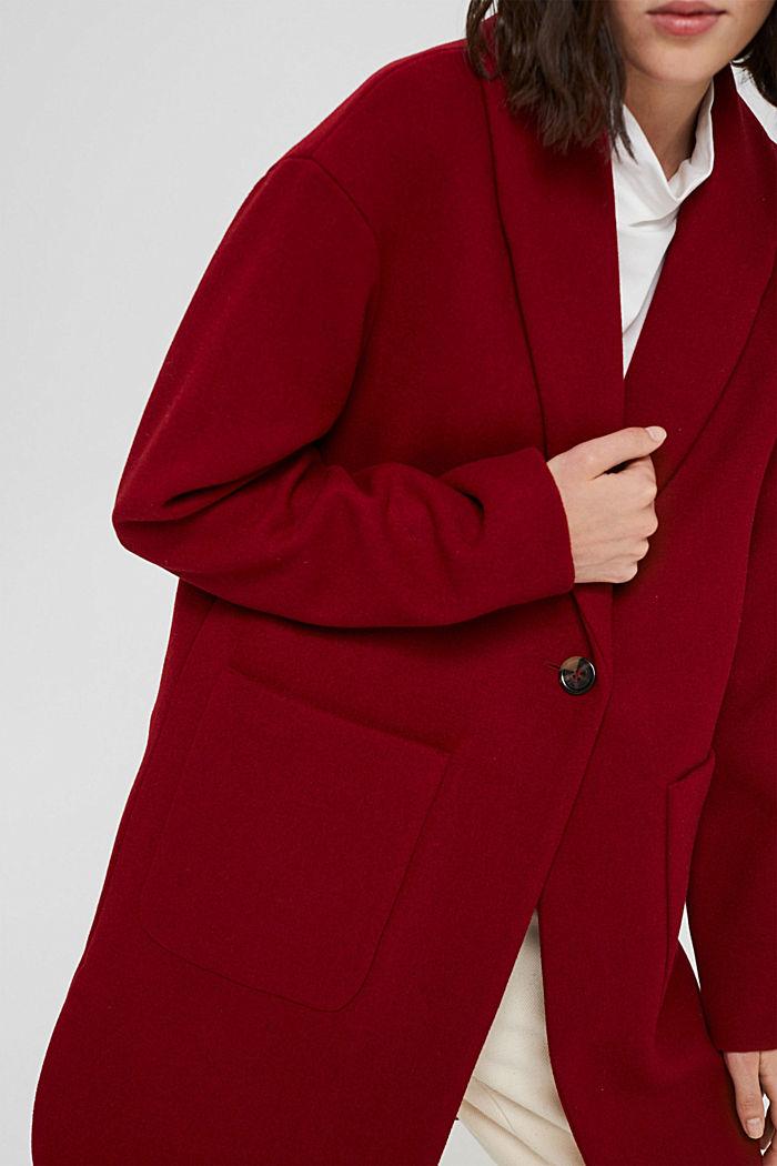 Gerecycled: mantel van een wolmix, DARK RED, detail image number 2