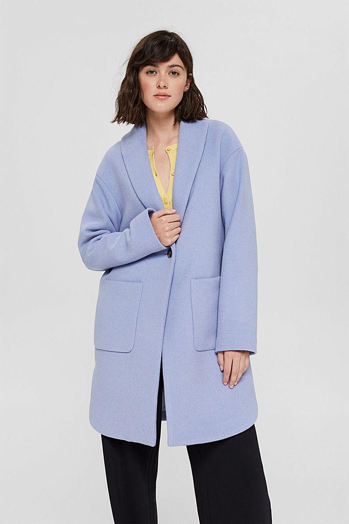 Recycelt: Mantel aus Woll-Mix, LIGHT BLUE, detail image number 0