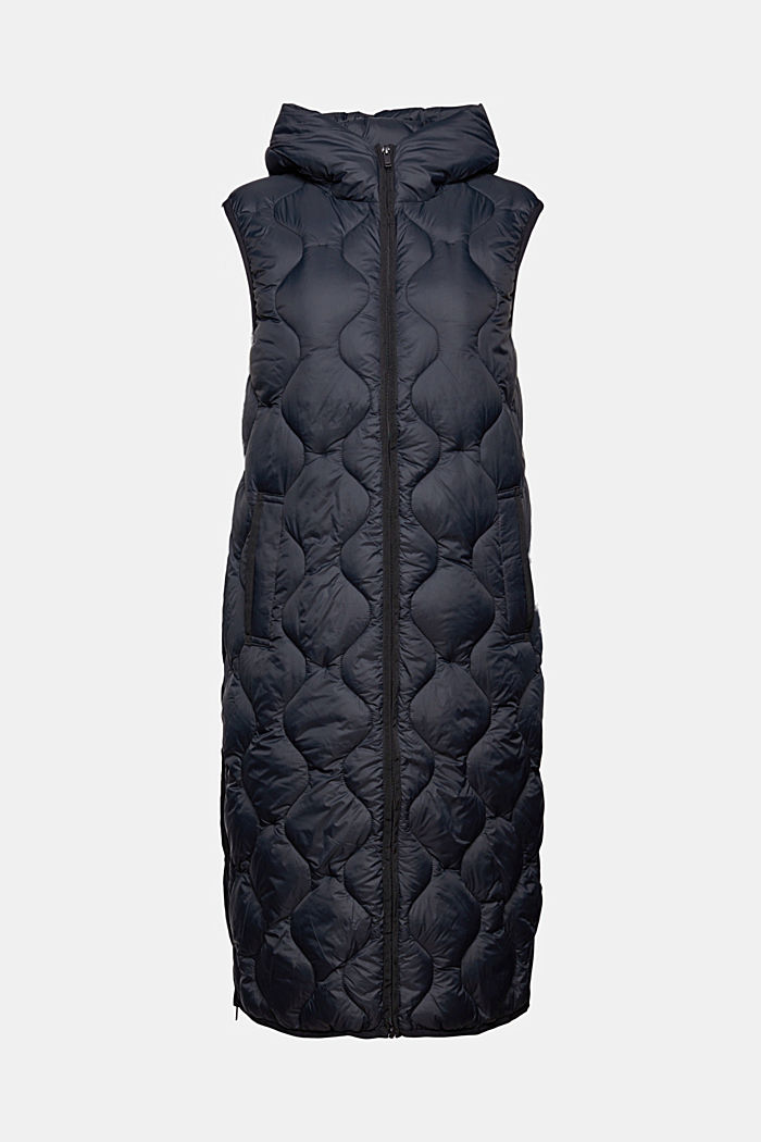 Recycled: long quilted body warmer with hood