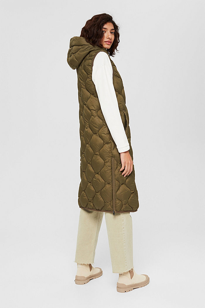 Recycled: long quilted body warmer with hood, DARK KHAKI, detail image number 3