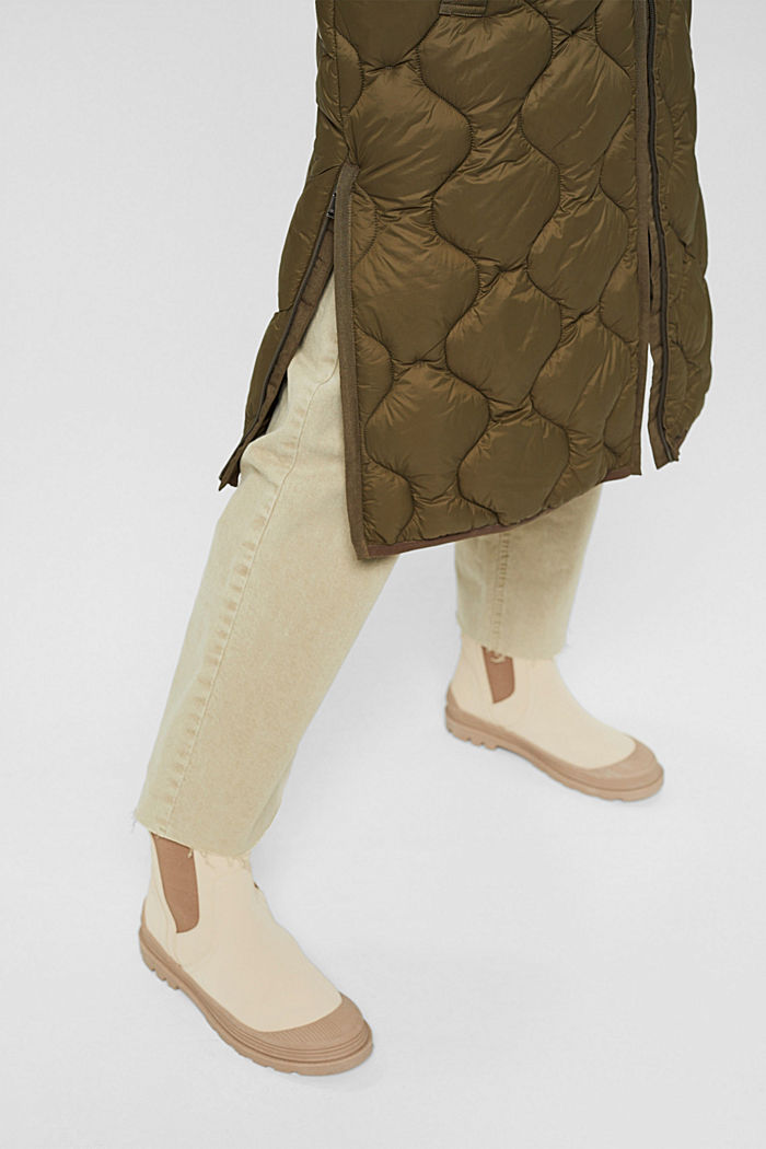 Recycled: long quilted body warmer with hood, DARK KHAKI, detail image number 2