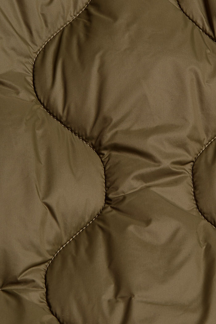 Recycled: long quilted body warmer with hood, DARK KHAKI, detail image number 4