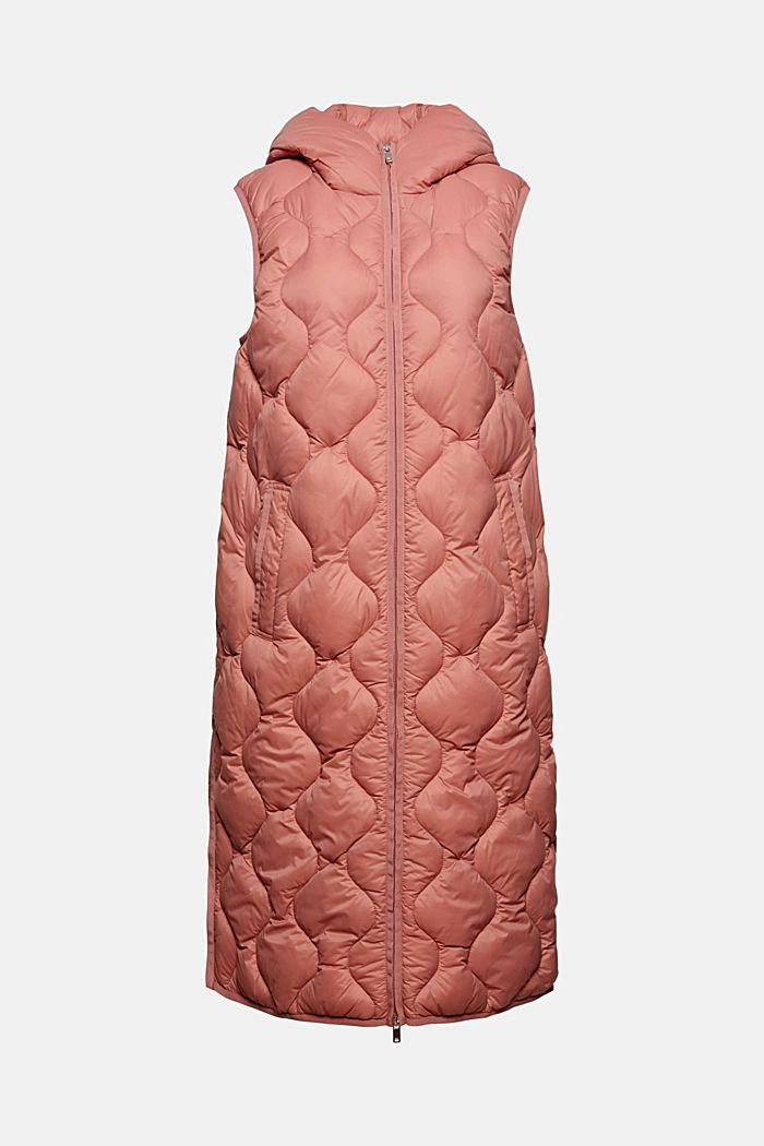 Reciclado: chaleco largo con diseño acolchado y capucha