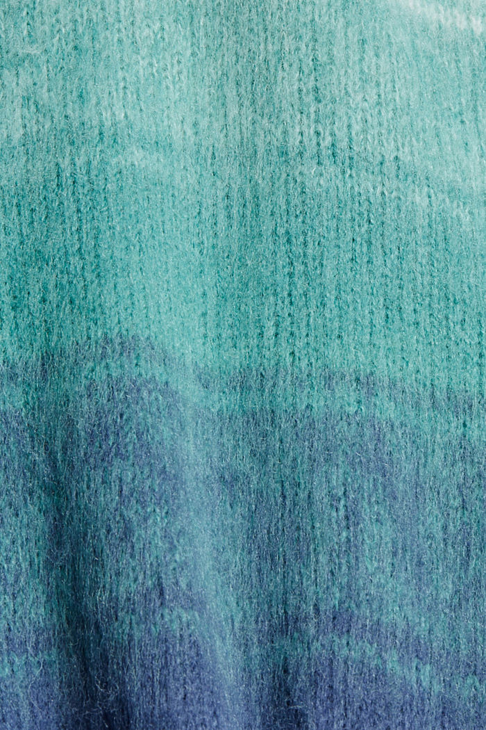 Mit Wolle: gestreifter Pullover mit Puffärmeln, AQUA GREEN, detail image number 4