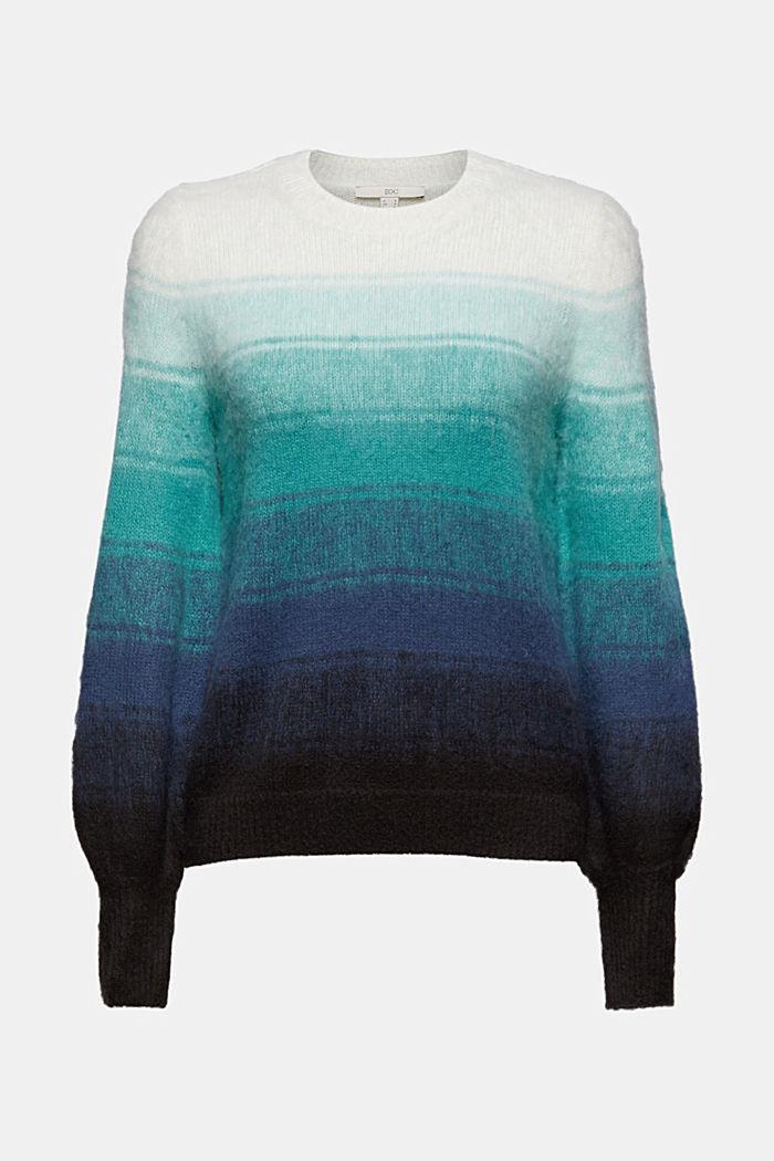 À teneur en laine: le pull-over rayé à manches bouffantes