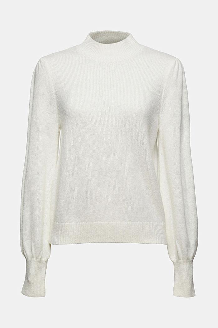 Mit Wolle: Pullover mit Puffärmeln, OFF WHITE, detail image number 5