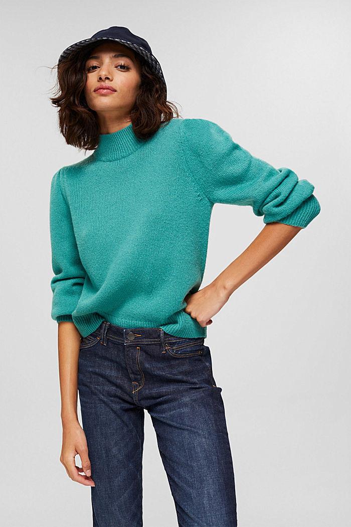 Mit Wolle: Pullover mit Puffärmeln, AQUA GREEN, detail image number 0