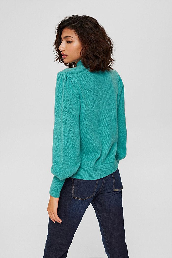 Mit Wolle: Pullover mit Puffärmeln, AQUA GREEN, detail image number 3