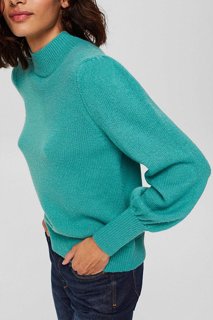 Mit Wolle: Pullover mit Puffärmeln, AQUA GREEN, detail image number 2