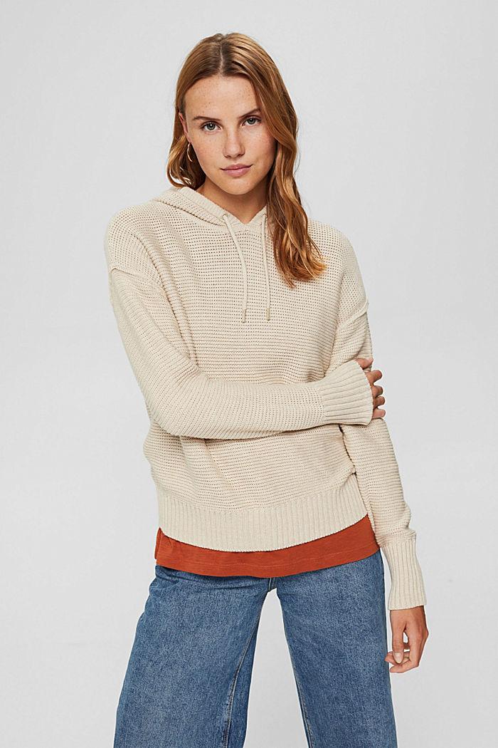 Hooded jumper, 100% cotton, BEIGE, detail image number 0