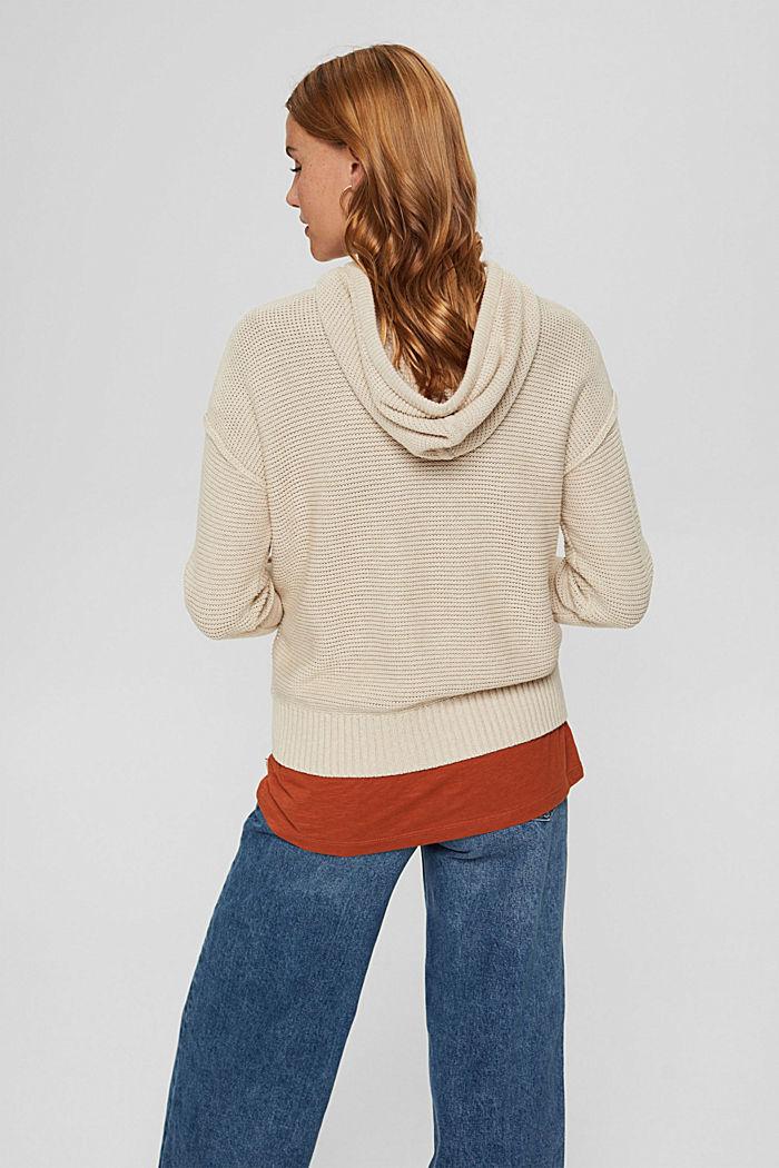 Hooded jumper, 100% cotton, BEIGE, detail image number 3
