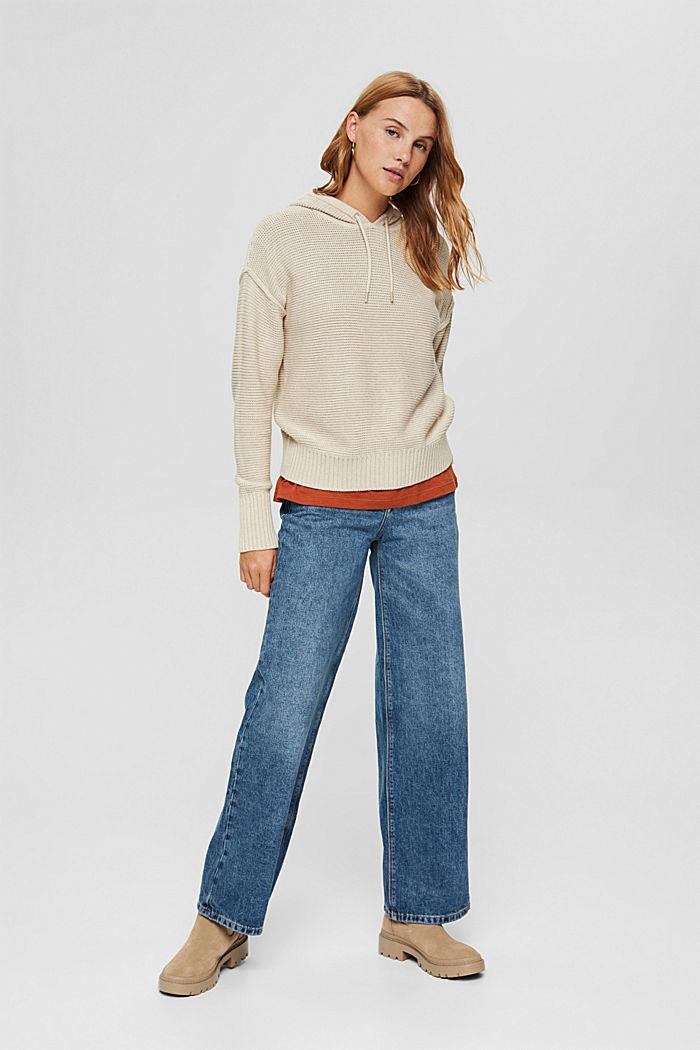 Hooded jumper, 100% cotton, BEIGE, detail image number 7
