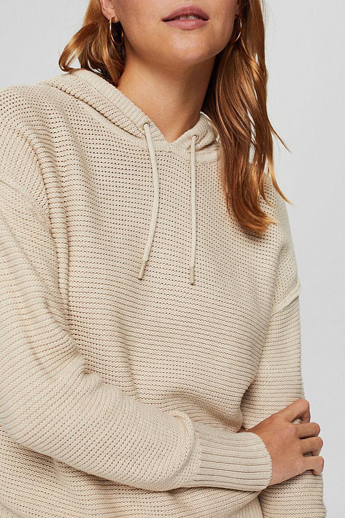Hooded jumper, 100% cotton, BEIGE, detail image number 2