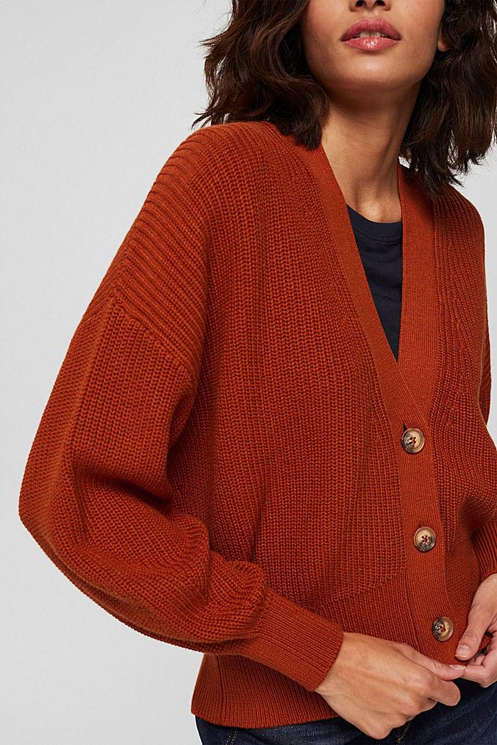Cárdigan corto en 100% algodón ecológico, RUST ORANGE, detail image number 2
