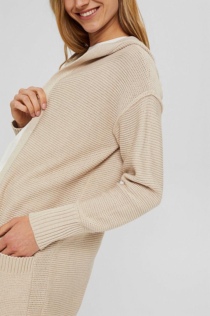 Offener Cardigan mit Kapuze, 100% Baumwolle, BEIGE, detail image number 2