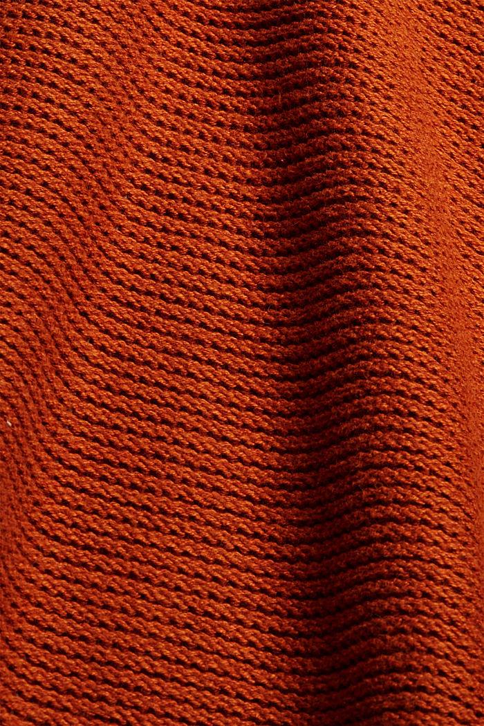 Offener Cardigan mit Kapuze, 100% Baumwolle, RUST ORANGE, detail image number 4