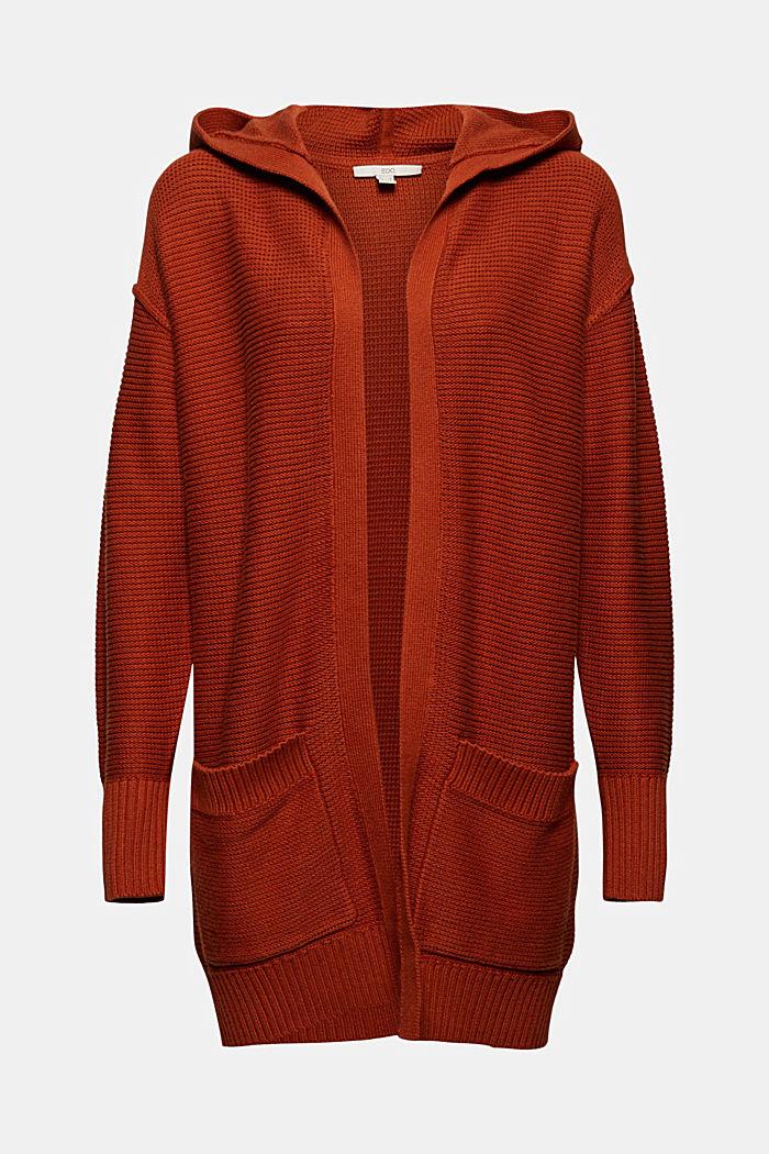 Offener Cardigan mit Kapuze, 100% Baumwolle, RUST ORANGE, detail image number 6
