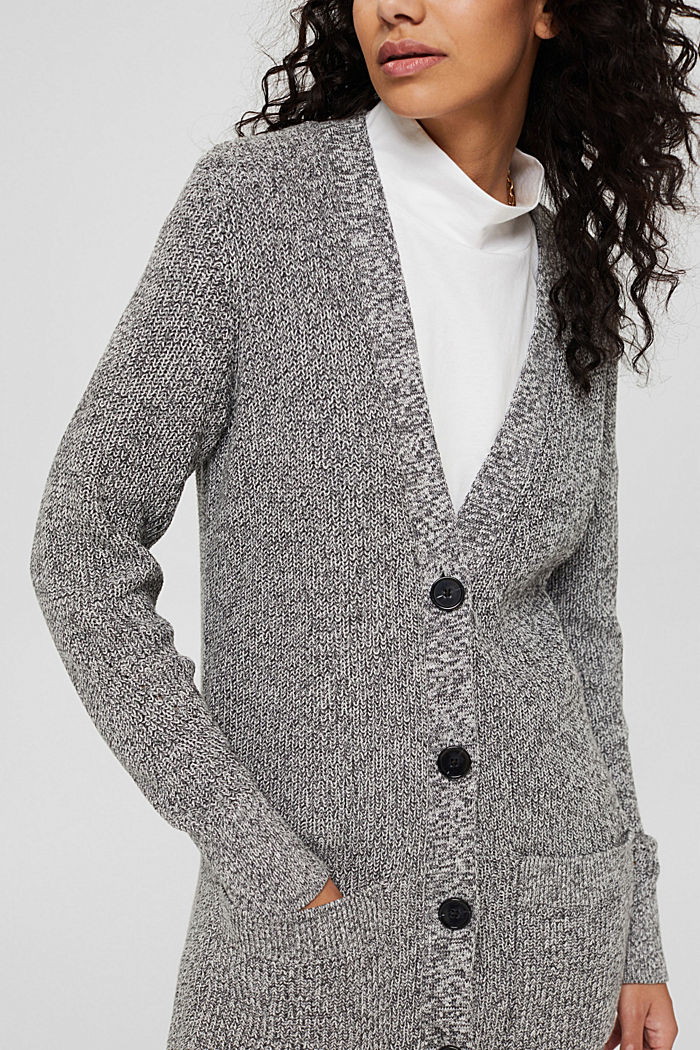 Melierter Long-Cardigan aus 100% Baumwolle, MEDIUM GREY, detail image number 2