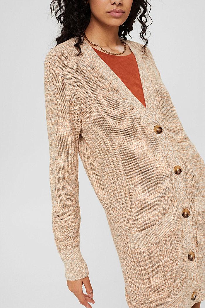 Mottled long cardigan made of 100% cotton, BEIGE, detail image number 2