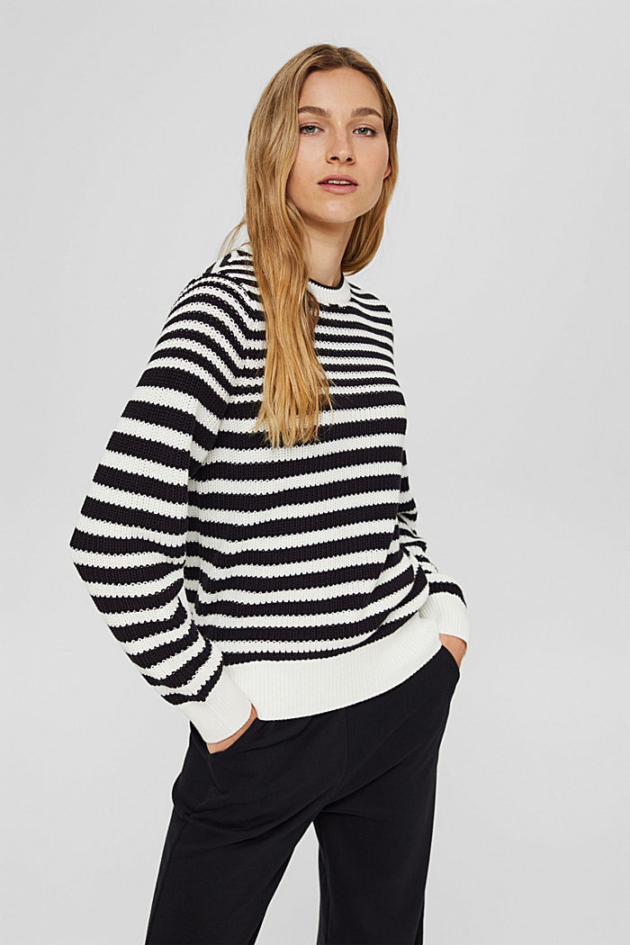 Grobstrickpullover aus 100% Organic Cotton, OFF WHITE, detail image number 0