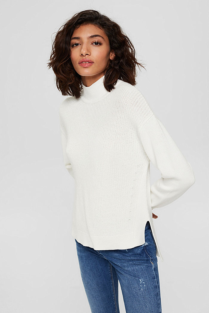 Pullover mit High-Low-Saum, 100% Bio-Baumwolle, OFF WHITE, detail image number 0