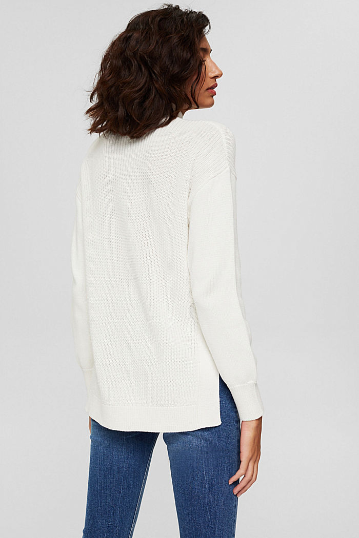 Pullover mit High-Low-Saum, 100% Bio-Baumwolle, OFF WHITE, detail image number 3
