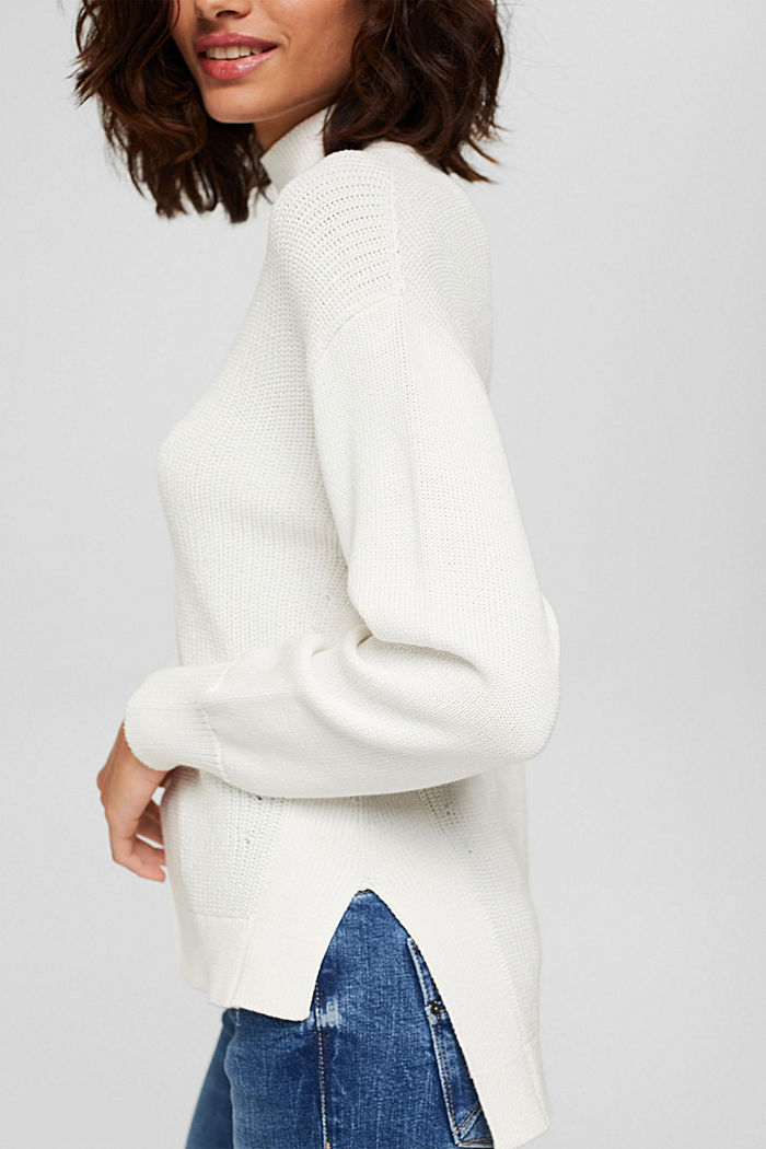 Pullover mit High-Low-Saum, 100% Bio-Baumwolle, OFF WHITE, detail image number 2