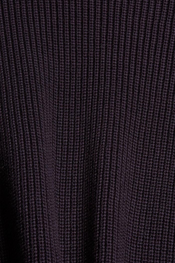 Trui met langer achterpand, 100% biologisch katoen, NAVY, detail image number 4