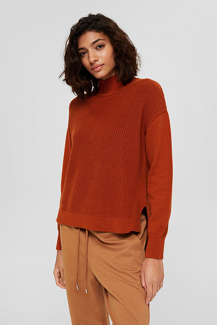 Pullover mit High-Low-Saum, 100% Bio-Baumwolle, RUST ORANGE, detail image number 0