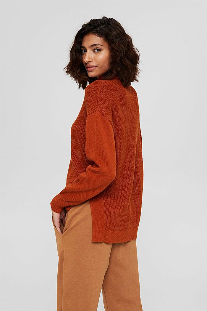 Pullover mit High-Low-Saum, 100% Bio-Baumwolle, RUST ORANGE, detail image number 3