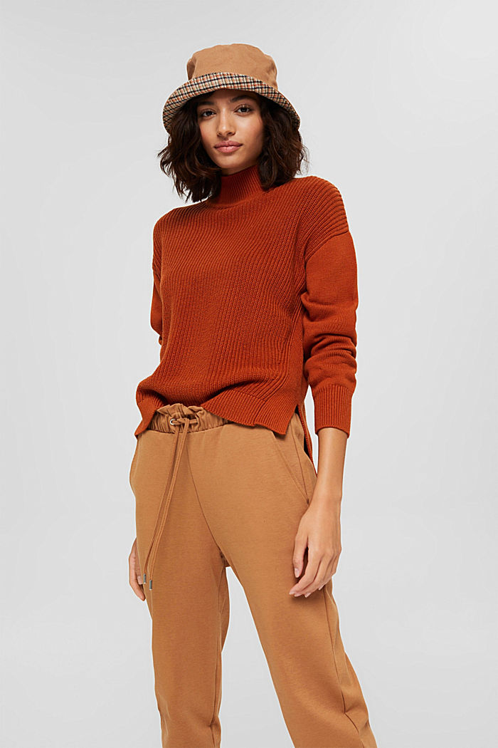 Pullover mit High-Low-Saum, 100% Bio-Baumwolle, RUST ORANGE, detail image number 5