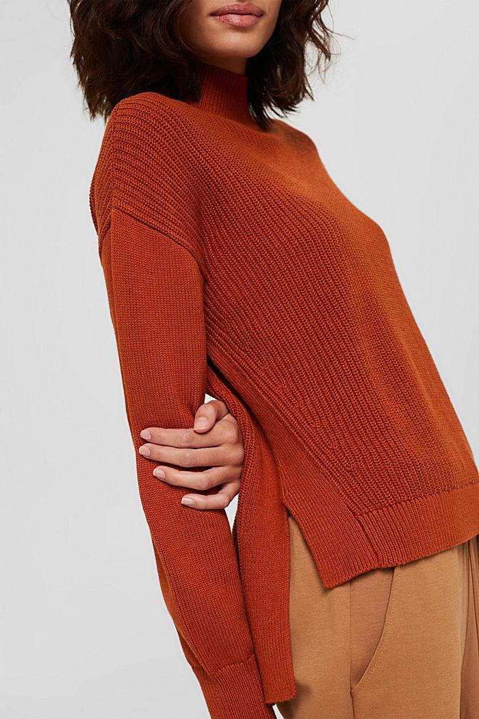 Pullover mit High-Low-Saum, 100% Bio-Baumwolle, RUST ORANGE, detail image number 2