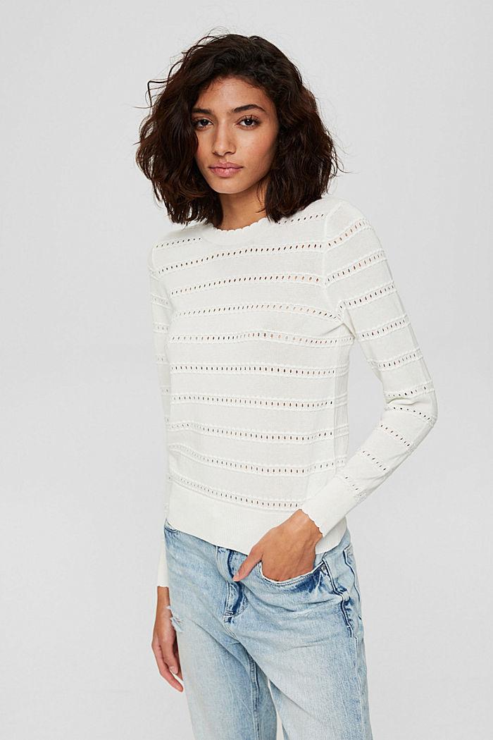 Pullover mit Ajourstreifen, 100% Bio-Baumwolle, OFF WHITE, detail image number 0