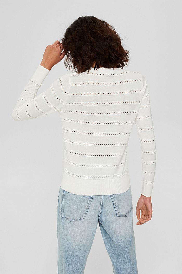 Pullover mit Ajourstreifen, 100% Bio-Baumwolle, OFF WHITE, detail image number 3