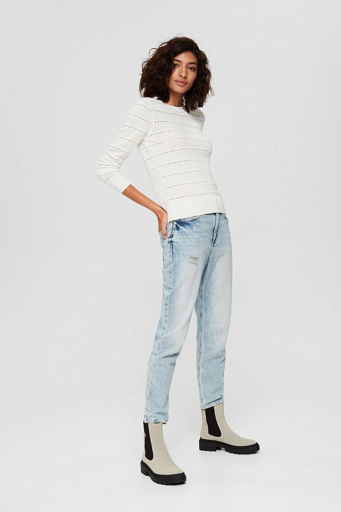 Pullover mit Ajourstreifen, 100% Bio-Baumwolle, OFF WHITE, detail image number 6