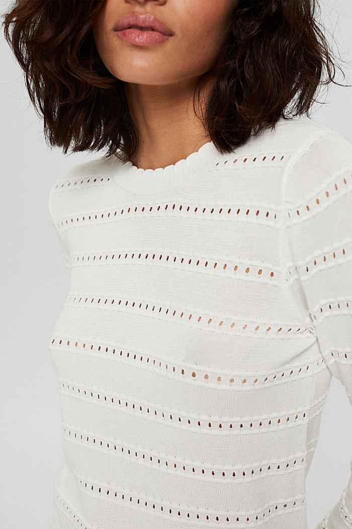 Pullover mit Ajourstreifen, 100% Bio-Baumwolle, OFF WHITE, detail image number 2