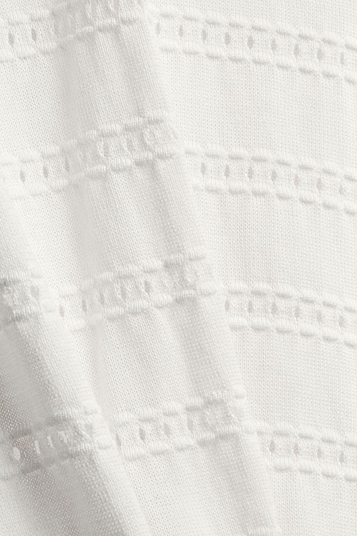 Pullover mit Ajourstreifen, 100% Bio-Baumwolle, OFF WHITE, detail image number 4