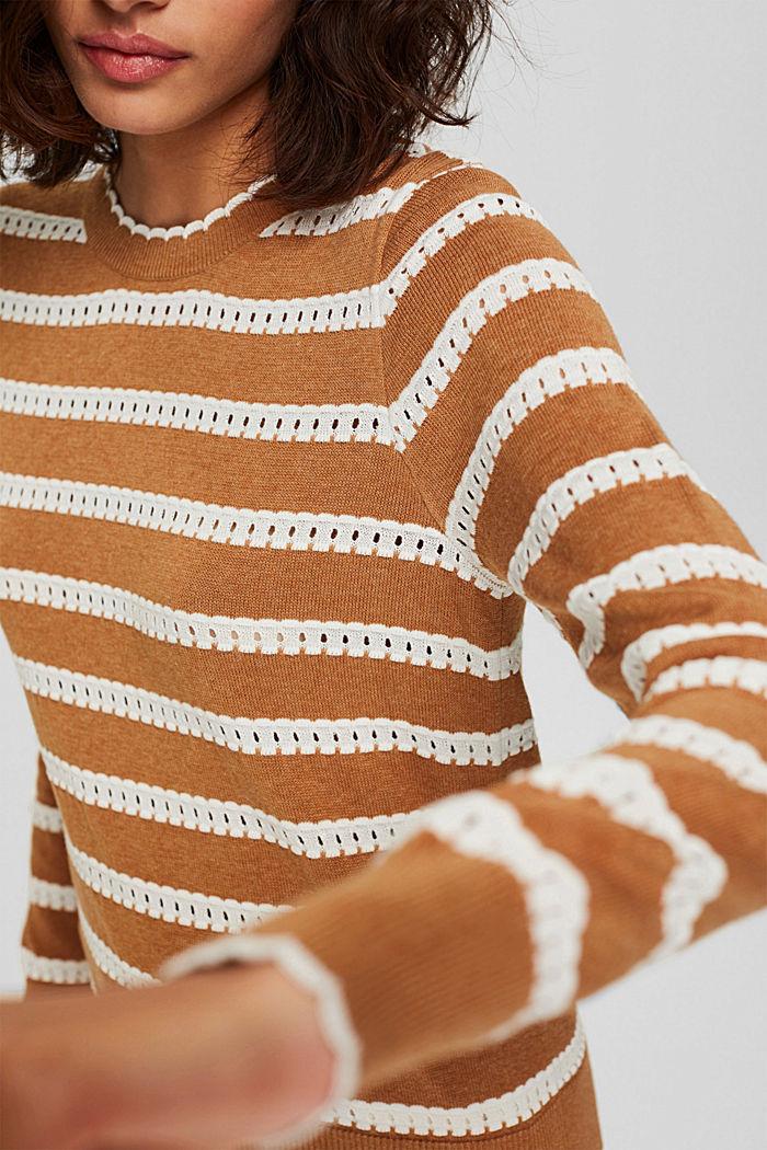 Trui met opengewerkte strepen, 100% biologisch katoen, BARK, detail image number 2
