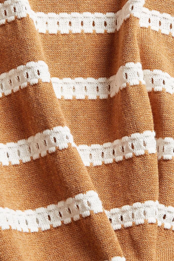 Trui met opengewerkte strepen, 100% biologisch katoen, BARK, detail image number 4