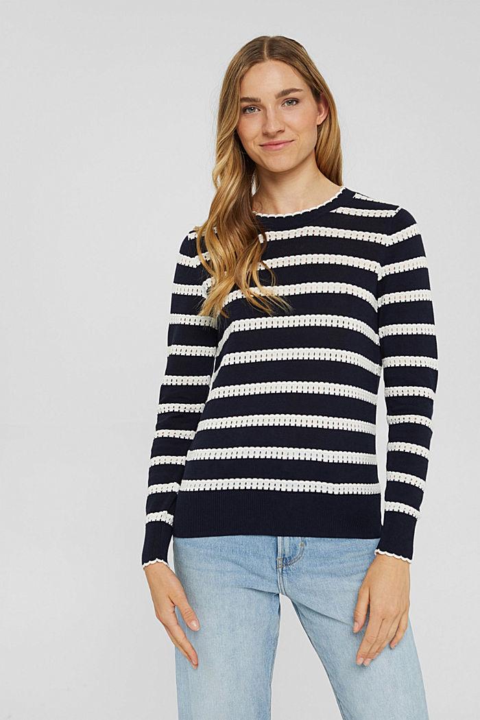 Pullover mit Ajourstreifen, 100% Bio-Baumwolle, NAVY, detail image number 0