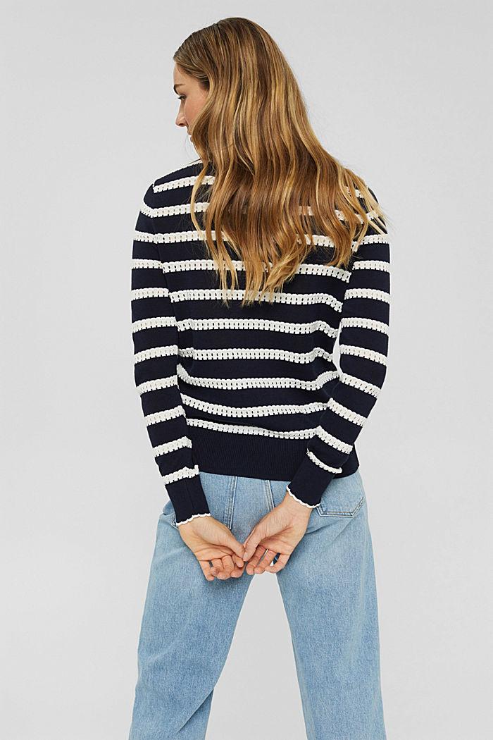 Pullover mit Ajourstreifen, 100% Bio-Baumwolle, NAVY, detail image number 3