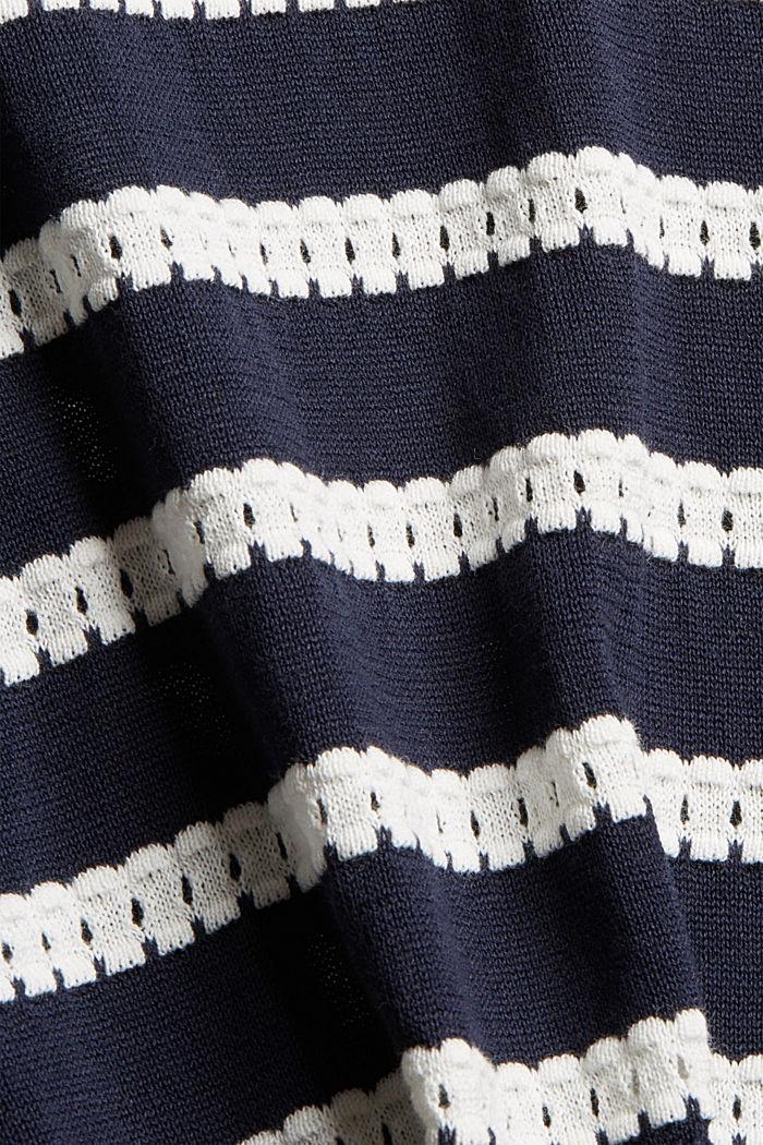 Pullover mit Ajourstreifen, 100% Bio-Baumwolle, NAVY, detail image number 4
