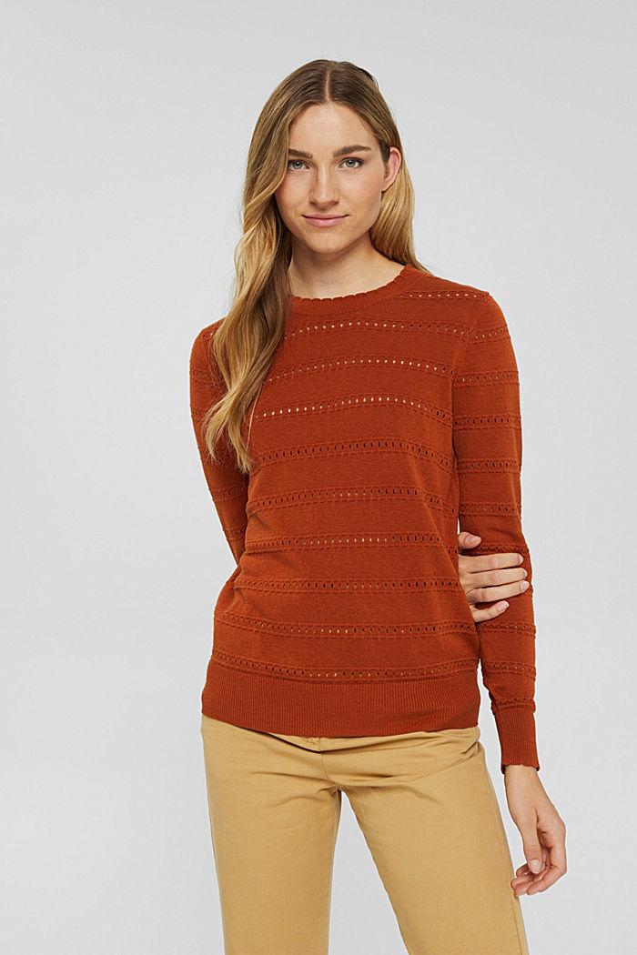 Pullover mit Ajourstreifen, 100% Bio-Baumwolle, RUST ORANGE, detail image number 0